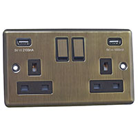 13A Socket + USB - 2 Gang - Antique Brass (Black) - Round Angled Plate - 3888124